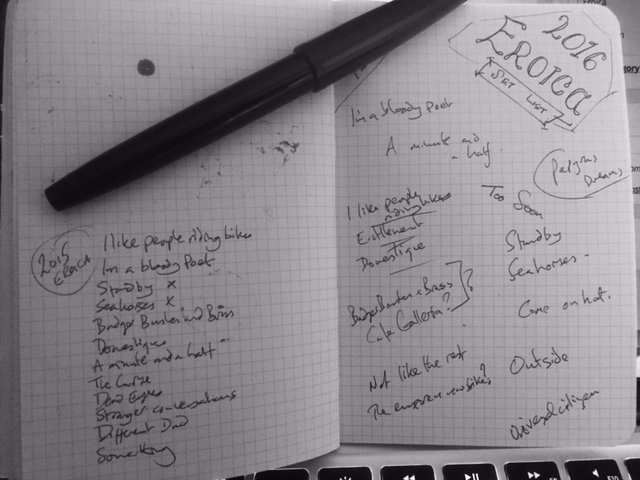 Picture of my developing set list for Eroica 2016 in notebook