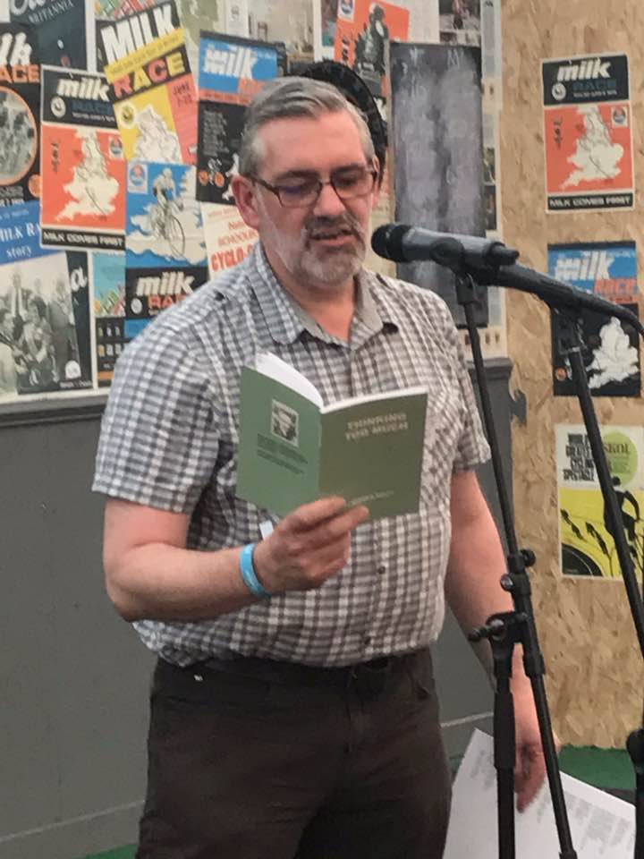 Photo of Seamus reading at Eroica Britannia 2017