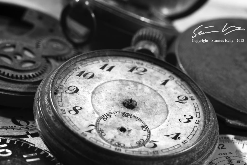 Mono photo of an old pocket watch without hands