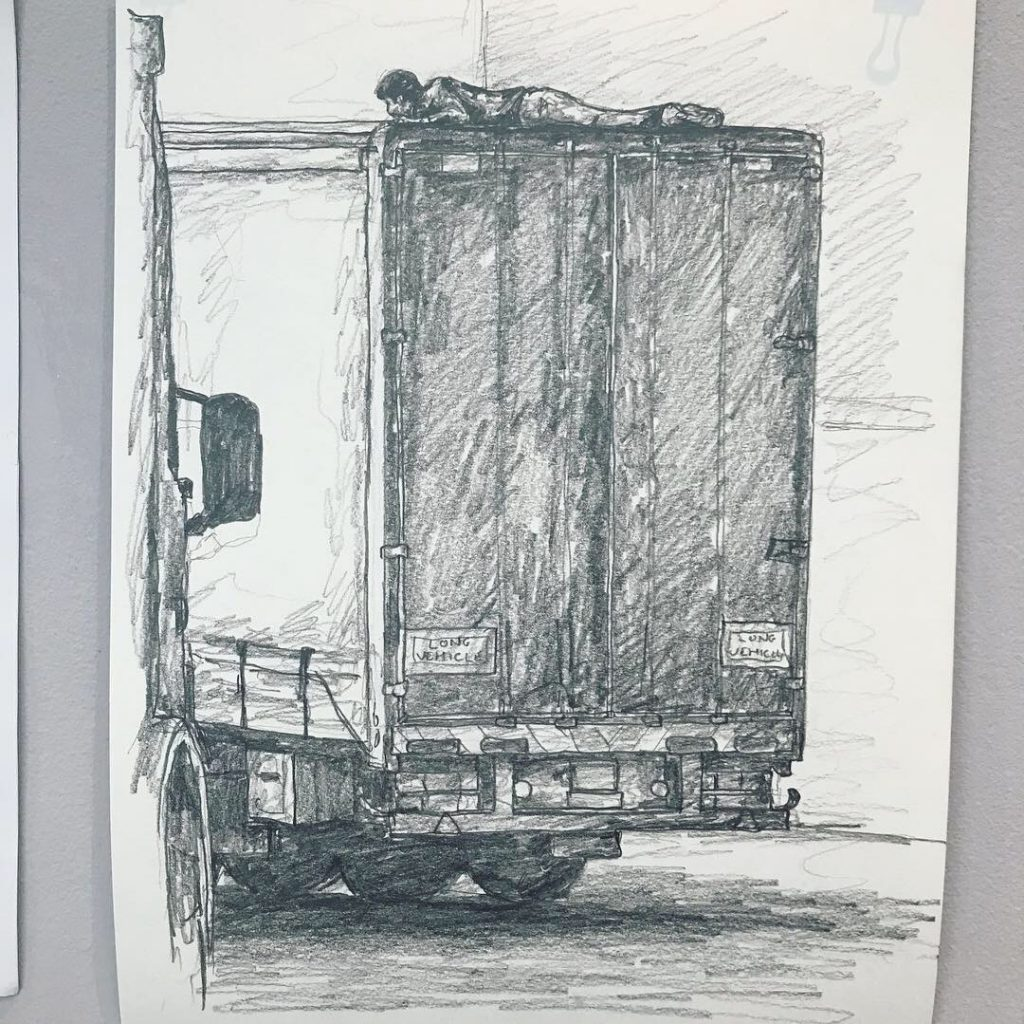 One of the artist's images with an asylum seeker hiding on a truck