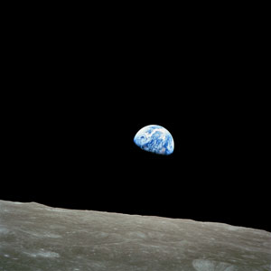NASA image of the earth rising over the moon - taken by Astronaut Bill Anders in 1968